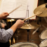 Hands of a man playing a drum set Royalty Free Stock Photo