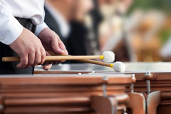 Hands of the man playing the timpani Stock Photos