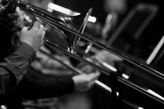 Hands of man playing the trombone Royalty Free Stock Images