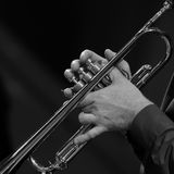 Hands of a man playing a trumpet Royalty Free Stock Photos