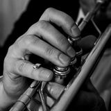 Hands of the man playing the trumpet closeup Stock Photos