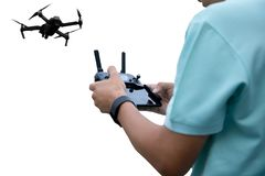 Hands of a man with radio control drone isolated Royalty Free Stock Image