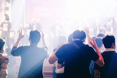 Hands Man raised up worship to God. Christian worship with raised hand,music concert,youth pray to God at church stock photo