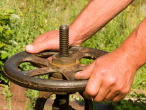 Hands  man's,  tool   wheel Stock Photos