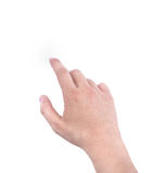 Hands of a man showing index finger on white background, hand symbol sign Stock Photos