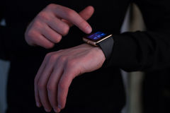 Hands of man with smartwatch Royalty Free Stock Photo