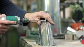 Hands of man using drill. stock video
