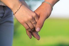 Hands. Man and woman holding hands Stock Images