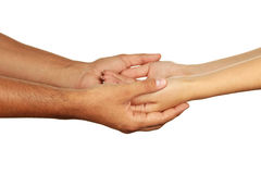 Hands of man and woman holding together Stock Images