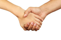 Hands of man and woman holding together. Stock Photo