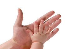 Hands of a man and a young child Royalty Free Stock Photos