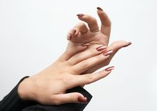 Hands with manicure Stock Images