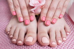 Hands with manicure, feets with pedicure. Female hands and feet on pink background top view. Result of spa salon procedure royalty free stock photo
