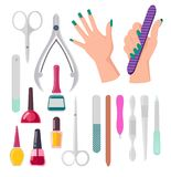 Hands and Manicure Instruments Vector Illustration. Hands with painted fingernails and manicure instruments, nail polish and file, scissors and tools, vector royalty free illustration