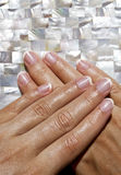 Hands with manicured nails Stock Images
