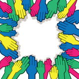 Hands Many Surrounding Colors Stock Image
