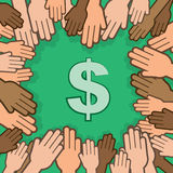 Hands Many Surrounding Dollar. Many hands surrounding and about to grab a dollar sign Royalty Free Stock Photo