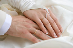 Hands of married couple Stock Image