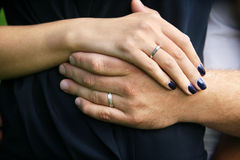Hands of married couple. Hands with rings, of married man and woman Royalty Free Stock Photos