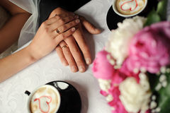 Hands of married people. Stock Photo