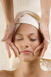 Hands massage on face Royalty Free Stock Images