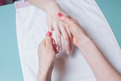 Hands massage in the spa salon Royalty Free Stock Photo