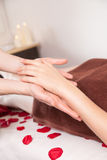 Hands massage in the spa salon Stock Images