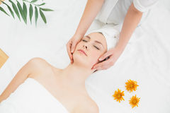 Hands massaging a beautiful woman's face Stock Image