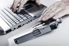 Computer Criminal in Action Stock Photos