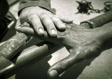 Hands of men of different races, close-up view. Stock Photo