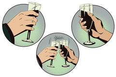 Hands of men and women with glasses of wine. Royalty Free Stock Photography