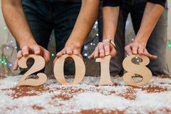 Writing 2018 flour Christmas art design hand figures new year decoration vintage Royalty Free Stock Image
