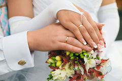 Hands men and women with wedding rings Royalty Free Stock Photo