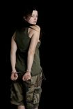 Hands of a Military woman in Handcuffs Royalty Free Stock Photo
