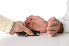 Hands with miniature car Royalty Free Stock Images