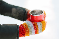 Hands in mittens holding a cup Stock Images
