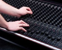 Hands on Mixing Console Royalty Free Stock Photos