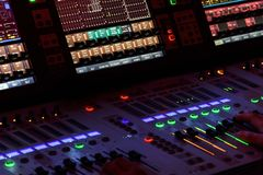 Hands on Mixing Console royalty free stock images