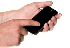 Hands with mobile phone. Tablet Royalty Free Stock Images