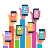 Hands with modern smartphones - flat design. Vector illustration Royalty Free Stock Photos