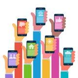 Hands with modern smartphones - flat design. Vector illustration stock illustration