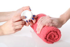 Hands moisturizing Royalty Free Stock Photography