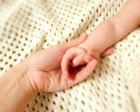 Hands of mommy and children. Hands together of mommy and baby Stock Photos