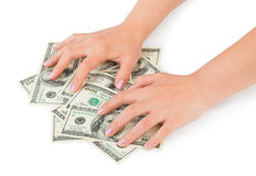 Hands and money stock images