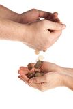 Hands with money. Coins Royalty Free Stock Image