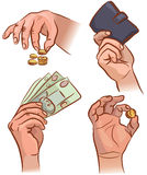 Hands with money. Set of hands with money. EPS 8 Stock Illustration