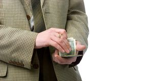 Hands with money. Hands counting money. Isolated over white. With large area for your text Stock Image