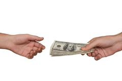 Hands and money Stock Photography
