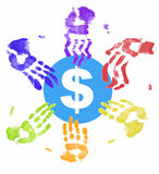 Hands on the money. Many different colored hands all trying to get a piece of the money Royalty Free Stock Photos