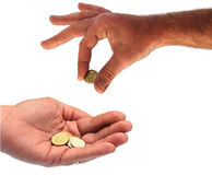 Hands and money Stock Photos